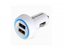 Thermaltake Trip Dual USB Car Charger White AC0028  Powerful 2.1A output